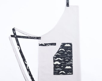 Apron blue white Cook - the Moustached