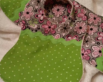 Green Apple and Pink Floral Bib and Burp Set