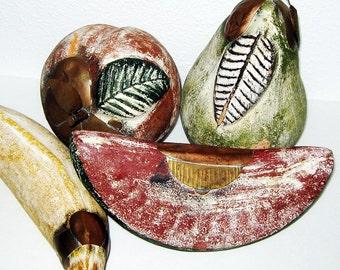 Terra Cotta Fruit - Decorative Fruit - Clay Fruit - Vintage Fruit Set - Vintage Kitchen - Ceramic Fruits - Faux Fruit - Fake Fruit
