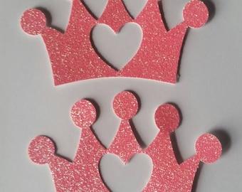 Pink glitter crown cutouts