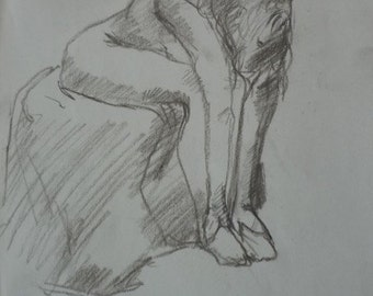 A sketch life drawing, figurative, drawing, lines, light and shadow