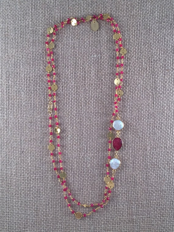 """Rosary Style Beaded Ruby  Necklace & Baroque Freshwater Pearl gemstones - 22K Goldplated-44"""" long- Double Wrap-Layer - GRANADA II"""