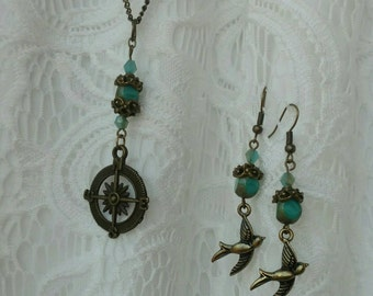 Compass and sparrow jewelry set