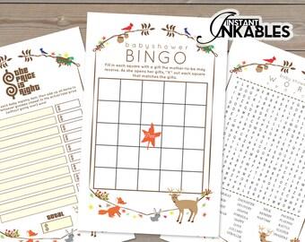 Woodland Critter Baby Shower Games! Fox Baby Shower Games, Baby Games, Deer Theme Baby Shower, Cute Baby Shower Theme, Fall Leaves, Bingo