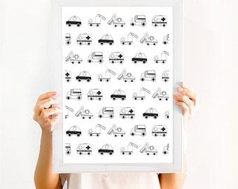 Traffic Jam Toy Cars Illustration Monochrome Boys Nursery Scandinavian Kids Decor Wall Art Print