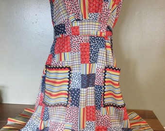 Vintage 50's Patchwork Wild and Colorful Unique One of a Kind Womens Juniors Small Medium Dress