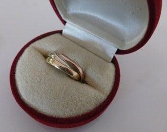 Vintage Italian 14K Triple Gold Wedding Ring, Marked 585 Italy FARO, 14 karat Russian Style Italian Wedding Ring, 14ct Triple Wedding Ring