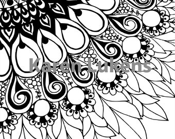 Mandala Flower, 1 Adult Coloring Book Page, Printable Instant Download