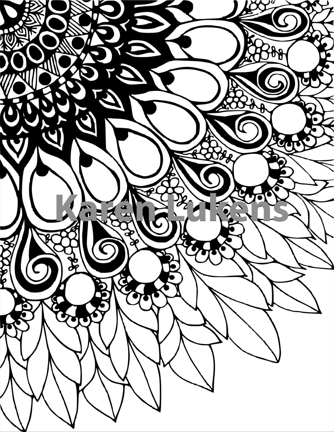 Mandala Flower 1 Adult Coloring Book Page Printable Instant Download