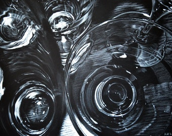 Glass #7 - ORIGINAL black and white ABSTRACT art - MODERN - contemporary - 72 x 52 cm - patterns of light - shapes, lines, circles & stripes