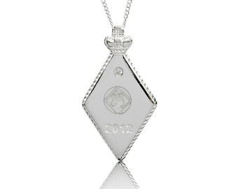 Sterling Silver Queens Diamond Jubilee 2012 Diamond Pendant & Chain