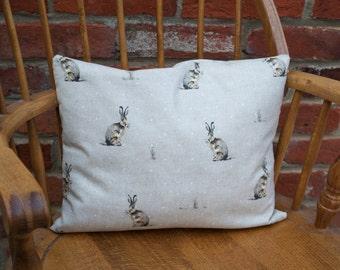 Lone Hare rectangular cushion-pillow-nature-handmade-cushion cover-throw pillow-decorative cushion-Christmas cushion