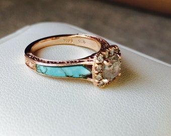 SALE! Rose Gold, Turquoise, Diamond Ring, Size 5