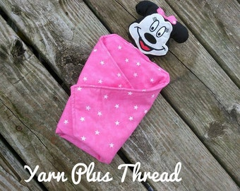 Girl Mouse Head Stuffie for Lovey Blanket Embroidery Design