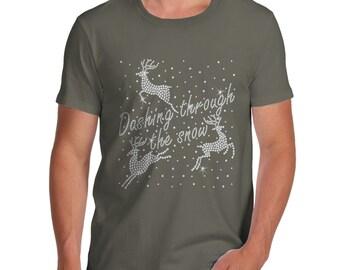 Men's Dashing Through The Snow Rhinestone Diamante T-Shirt