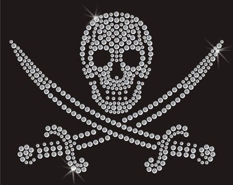 Pirate Skull And Swords Rhinestone Applique