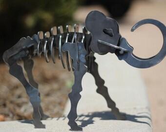 Metal Dinosaur Metal Woolly Mammoth Metal Art Steel Dino