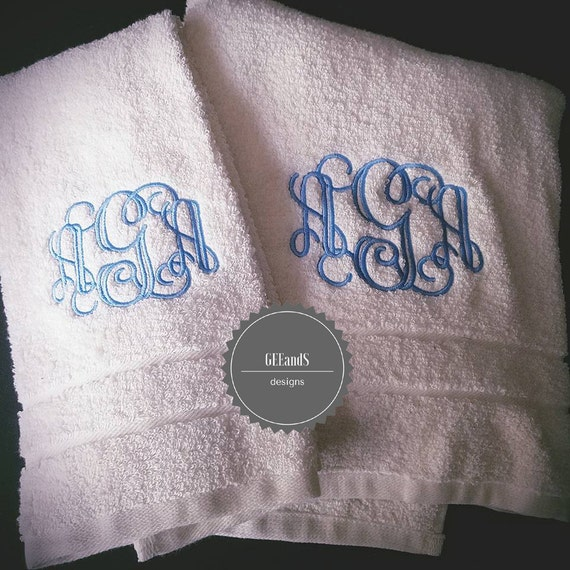 Embroidered Towels For Wedding Gift: Monogrammed 2pc Towels Wedding Gift Personalized Towels