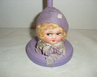 Antique Celluloid Doll Head Hat Stand
