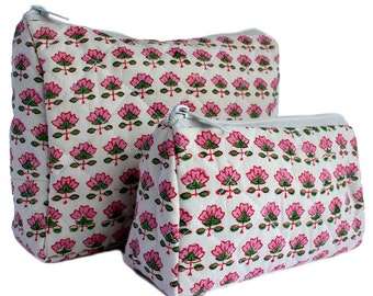 Indian Wood-Block Printed Toiletry Bags