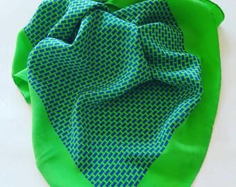 Green vintage silk scarf