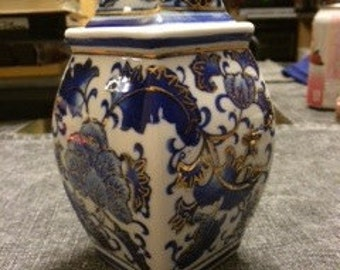 Antique Cobalt Vase With Lid