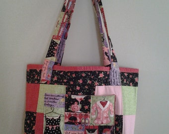 Handmade quilted market bag/tote in fashion cotton print of black, salmon and lime - very girly
