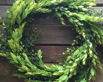 Greenery Wreath, Year Round Wreath, Indoor Wreath, Farmhouse Decor, Farmhouse Wreath