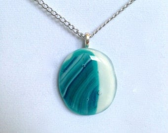 Blue and White Fused Pendant Necklace