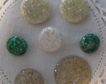 Lot of Seven  Vintage Lucite Glitter Buttons