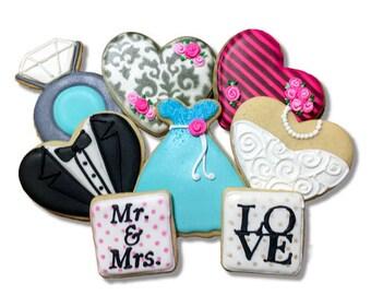 Engagement Cookies / Wedding Cookies / Bridal Shower Cookies - 2 Dozen