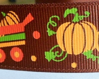 1m brown colored ribbon pattern: Halloween pumpkins