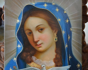 Our lady of the dove virgin Mary oil painting on canvas spanish colonial art signed by Jose Robles