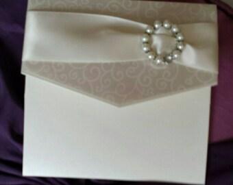 Ivory Swirl Pocketfold Wedding Invitation SAMPLE With RSVP Card