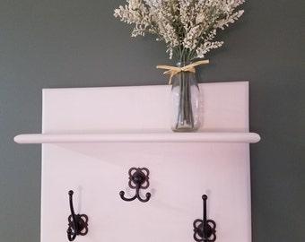 Wall shelf with 3 hooks
