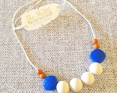 Teething Necklace | Nursing Necklace for Mom | New Mom Gift | Silicone Teething Necklace | Teething Jewelry | The Olga- Royal Blue, Navajo
