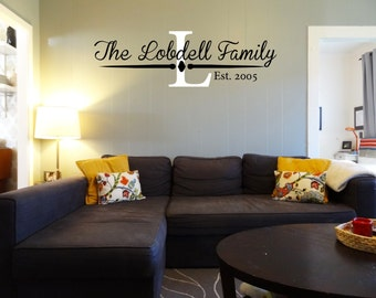 Personalized Last Name Decal with EST year perfect for any room in your house!