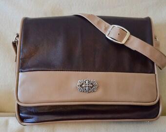 All Leather 2 Tone Brown Handbag