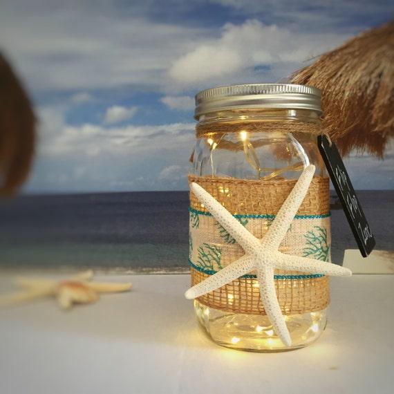 Starfish Jar Light/Flip Flop Zone/Aqua Blue/Beach Cottage Decor/LED String Light/Battery Operated/Beach Theme/Beach Memories/Seaside Home