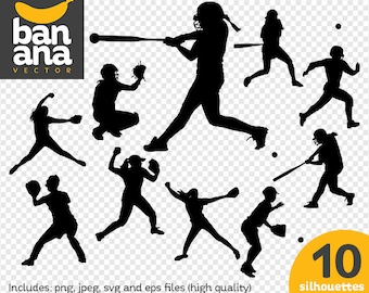 SALE Softball Silhouettes png jpg svg eps files high resolution BV-SP-0038