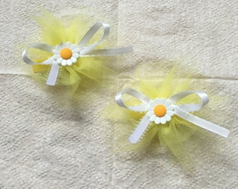 Yellow Tulle Bow (2pc)