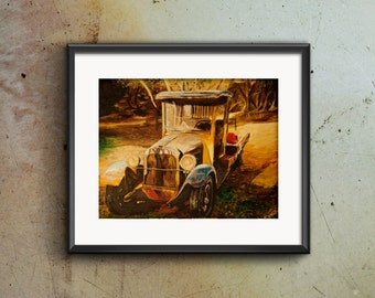 """Vintage Truck Print, Acrylic Painting, Fine Art Print, Giclee Print, """"The Old Truck"""""""