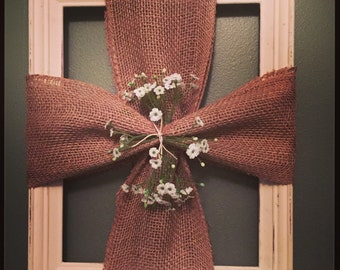 11X15 burlap cross with baby's breath
