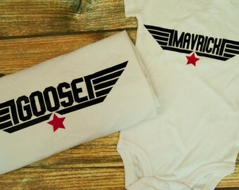 Goose and Mavrick, Matching Father and Son Shirt and Onesie