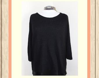 Black Long-line Knit Sweater