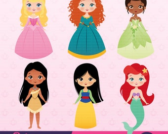 Princess Party Clipart, Instant Download, Princess Graphics.