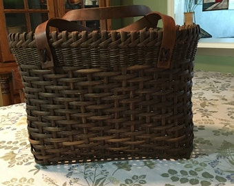 Woven Tote with Leather Handles
