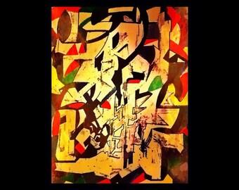 Requiem . Original modern art print. Signed . Limited edition