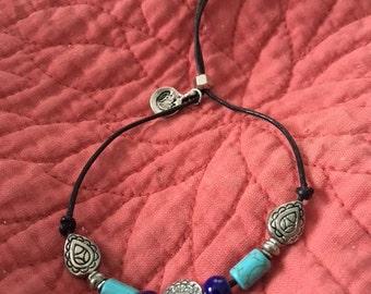 Adjustable Blue Beaded Bracelet