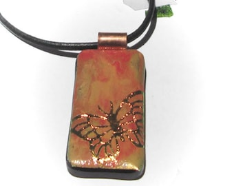 Butterflies - Dichroic Glass Necklace, Shades 0f Orange and Raspberry - Shimmering Dichroic Glass Pendant,  Necklace Included